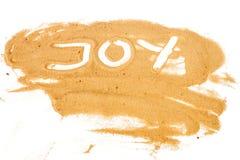Word JOY written on pile of yellow sand Royalty Free Stock Photos