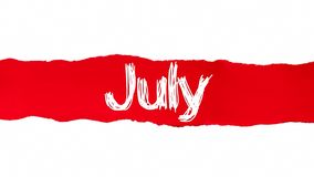 The word July appearing behind red torn paper.  royalty free illustration