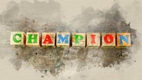 Word ` kampioen ` bouwde van houten blokken royalty-vrije stock afbeeldingen
