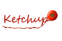 The word ketchup written with ketchup Royalty Free Stock Photos
