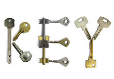 The word key is made of keys of various form, on a white background Stock Photo