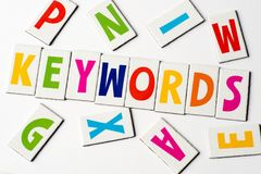 Word keywords made of colorful letters. On white background Royalty Free Stock Photo