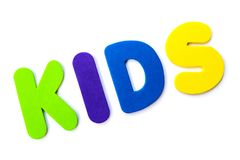 The word KIDS. KIDS spelt out with coloured letters Stock Photography