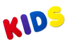 The word KIDS. KIDS spelt out with coloured letters Royalty Free Stock Image