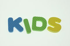 Word Kids Spelled Out in Kids Blocks Royalty Free Stock Photo