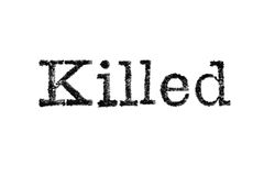 The word `Killed` from a typewriter on white Royalty Free Stock Photo