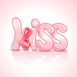 The word kiss with lush lips Royalty Free Stock Photos