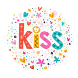 Word kiss retro typography lettering decorative text Royalty Free Stock Photography