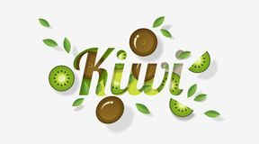 Word kiwi design decorated with kiwi fruits and leaves in paper art style. Vector , illustration Stock Images