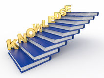 Word knowledge on books as staircase Royalty Free Stock Images
