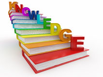 Word knowledge on books as staircase. 3d Stock Photography