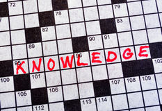 The Word Knowledge on Crossword Puzzle. In Red Ink, Copy Space Stock Images