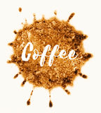 Word koffie die in koffievlek wordt geschreven Stock Foto