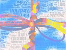 Word kunstillustratie van een doos van de Kerstmisgift (lint en boog) Royalty-vrije Stock Afbeeldingen