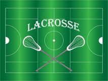 The word lacrosse with crossed sticks on green field. vector illustration