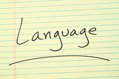 Language On A Yellow Legal Pad Stock Image