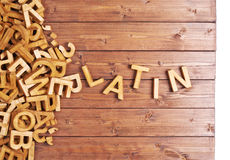 Word latin made with wooden letters Stock Photos