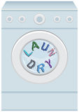Word Laundry In Washing Machine. The word laundry in a blue, front loading washing machine. Each letter in the word looks like fabric Royalty Free Stock Images