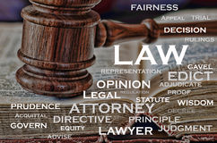Word of Law. A wooden judge's gavel and words that describe the legal business Royalty Free Stock Photo