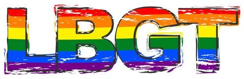 Word LBGT avec le drapeau de fierté d'arc-en-ciel sous lui, regard grunge affligé illustration de vecteur