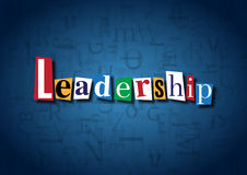The word Leadership made from cutout letters. On a blue background Stock Photography