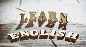 Word learn english made with wooden letters Royalty Free Stock Image