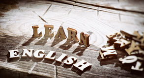 Word learn english made with wooden letters Stock Images