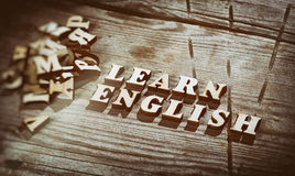 Word learn english made with wooden letters Royalty Free Stock Images