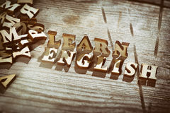 Word learn english made with wooden letters Royalty Free Stock Photography