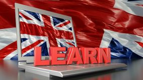 LEARN on laptop computer with english flag - 3D rendering video stock illustration