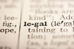 Word legal. From the old dictionary, a close up Stock Photo