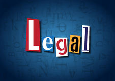 The word Legal made from cutout letters. On a blue background Stock Photos
