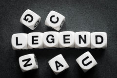 Word legend on toy cubes. Word legend on white toy cubes stock images