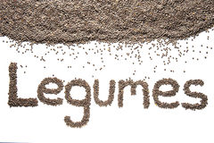 Word legumes written with lentils Royalty Free Stock Photography