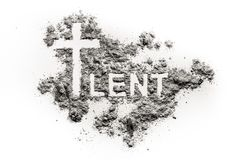 Word lent and christian cross symbol drawing. In ash, sand or dust as abstinence and fasting period concept Royalty Free Stock Photos