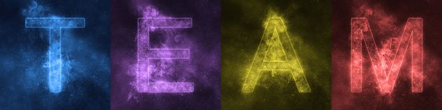 Word lettering TEAM Space stylized colorful Letters. TEAM Royalty Free Illustration
