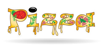 Word of the letters of pizza Stock Images