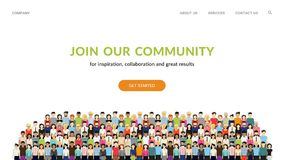 Word lid van Onze Gemeenschap Menigte van verenigde mensen als zich zaken of het creatieve communautaire verenigen vector illustratie