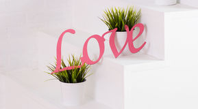 Word liefde in houten, roze gekleurd, met groene installaties wordt gemaakt die Royalty-vrije Stock Foto