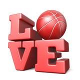 Word LIEFDE met 3D basketbalbal Stock Afbeelding