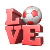 Word LIEFDE met 3D de bal van het voetbalvoetbal Stock Afbeeldingen