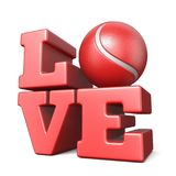 Word LIEFDE met 3D tennisbal Stock Foto