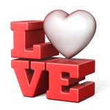 Word LIEFDE met rood 3D hart Stock Foto's