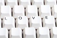 Word LIEFDE op computertoetsenbord met lege ruimte op andere knopen Royalty-vrije Stock Afbeelding