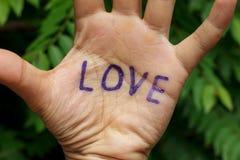 Word liefde op hand en onduidelijk beeldboomachtergrond Stock Afbeeldingen