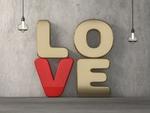 Word liefde over achtergrond met bezinning 3d Stock Afbeeldingen
