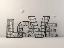 Word liefde over achtergrond met bezinning 3d Stock Foto's