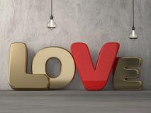 Word liefde over achtergrond met bezinning 3d Royalty-vrije Stock Foto