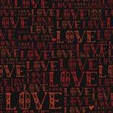 Word liefde, rode gekleurd, hand getrokken vector naadloos patroon Stock Foto