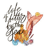 Word-life is better by the sea. Compositions Seaweed sea life and corals object  on white background. Watercolor. Hand drawn painted illustration. Underwater Stock Photo